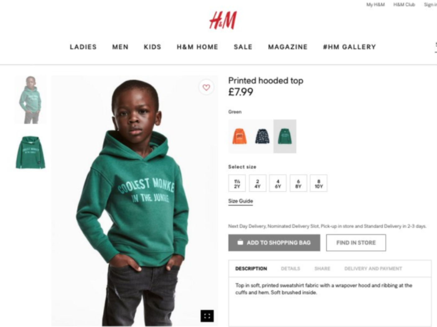 H&M Black Boy Monkey Top