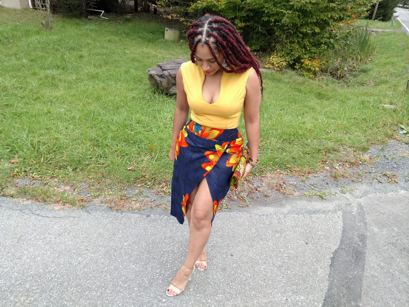 Ankara High-Slit Skirt