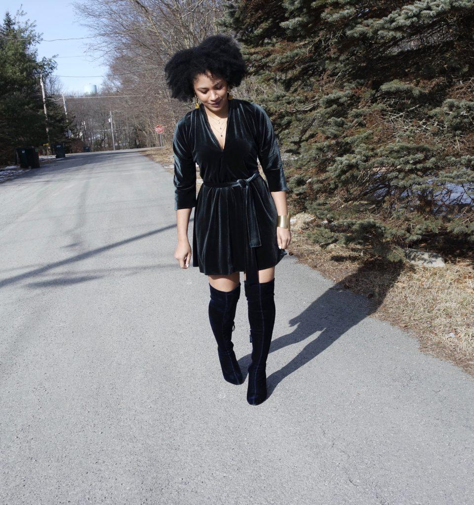 Zara Velvet OTK Boots