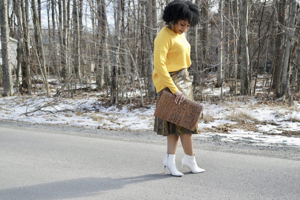 ZARA Shiny Snakeskin Skirt